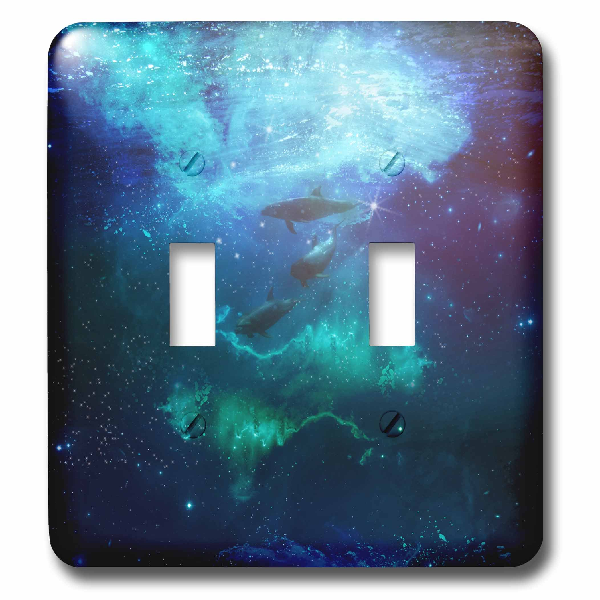 3dRose Andrea Haase Animals Illustration - Blue Underwater Dolphin Mixed Media Illustration - Light Switch Covers - double toggle switch (lsp_271193_2)