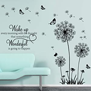 3 Pieces Dandelion Wall Stickers Vinyl Wall Decals Flower Wall Decals Butterflies Flying Wall Decors Inspirational Wall Quotes Wall Art Stickers for Bedroom Living Room Inspirational Wall Decals