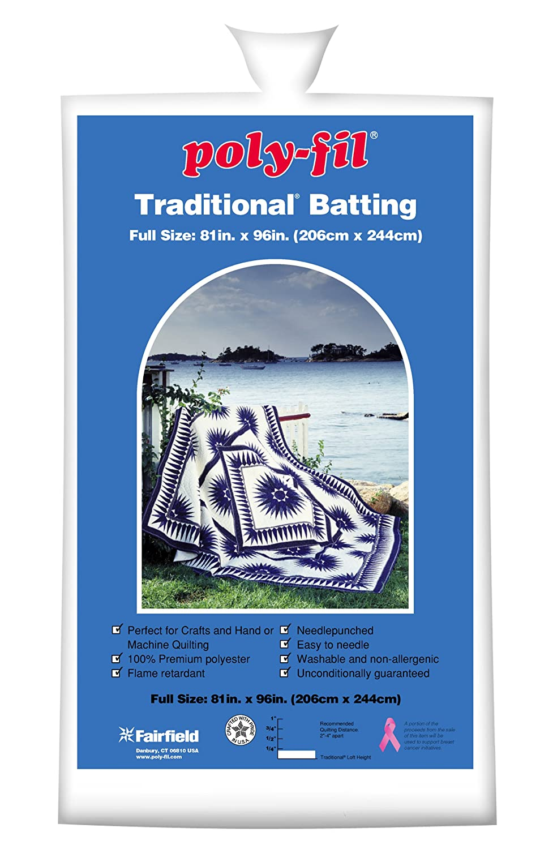 Amazon.com: Fairfield Poly-Fil Traditional White Quilt Batting ... : best batting for machine quilting - Adamdwight.com