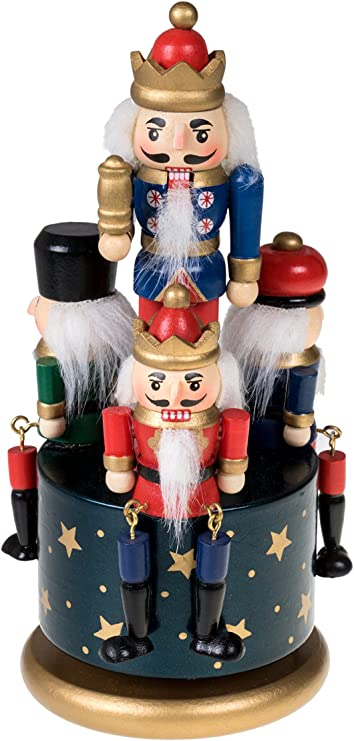 20cm Wooden Nutcracker 4 Soldier Toy Musical Box Wind Up Toy Christmas Decor