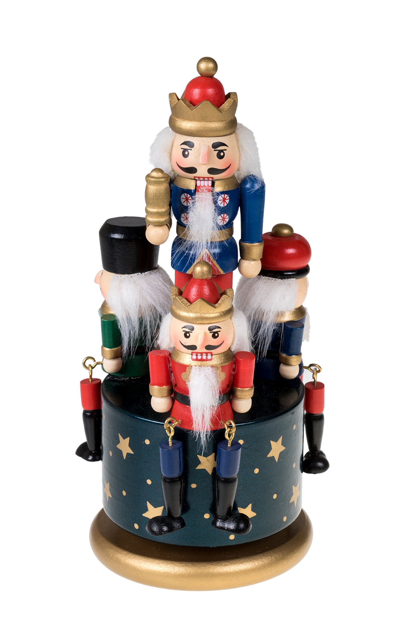Traditional Wooden Nutcracker Wind Up Music Box | Blue, Red, Gold, and Green Kings and Soldiers | Festive Christmas Decor | 8'' Tall Perfect for Shelves and Tables