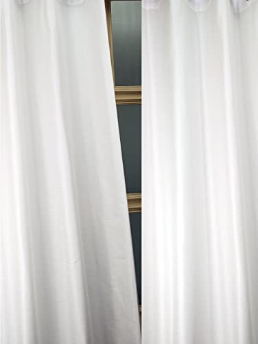 Deveson Solid Toned Faux Silk Dupion Curtain/Panel/Drape White