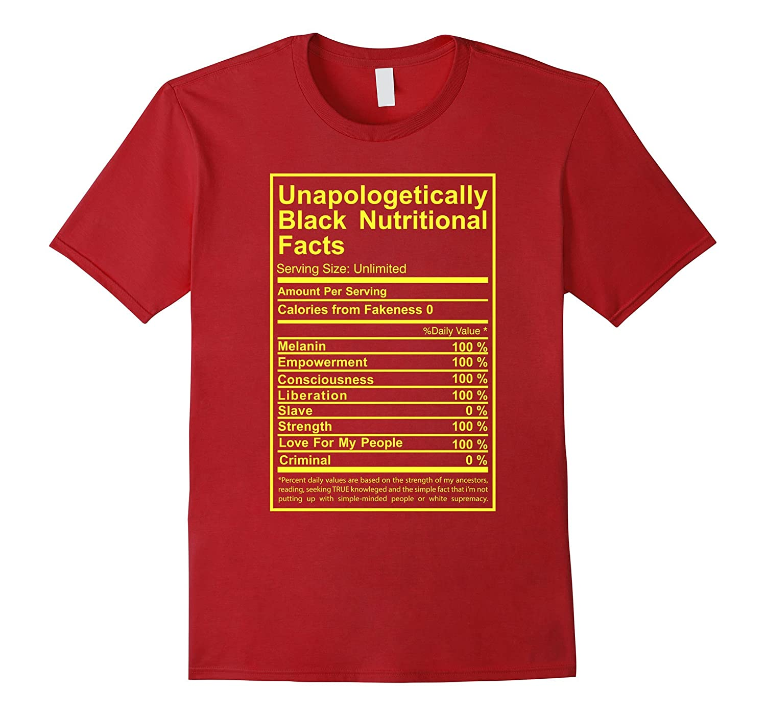Unapologetically Black Nutritional Facts T-Shirt