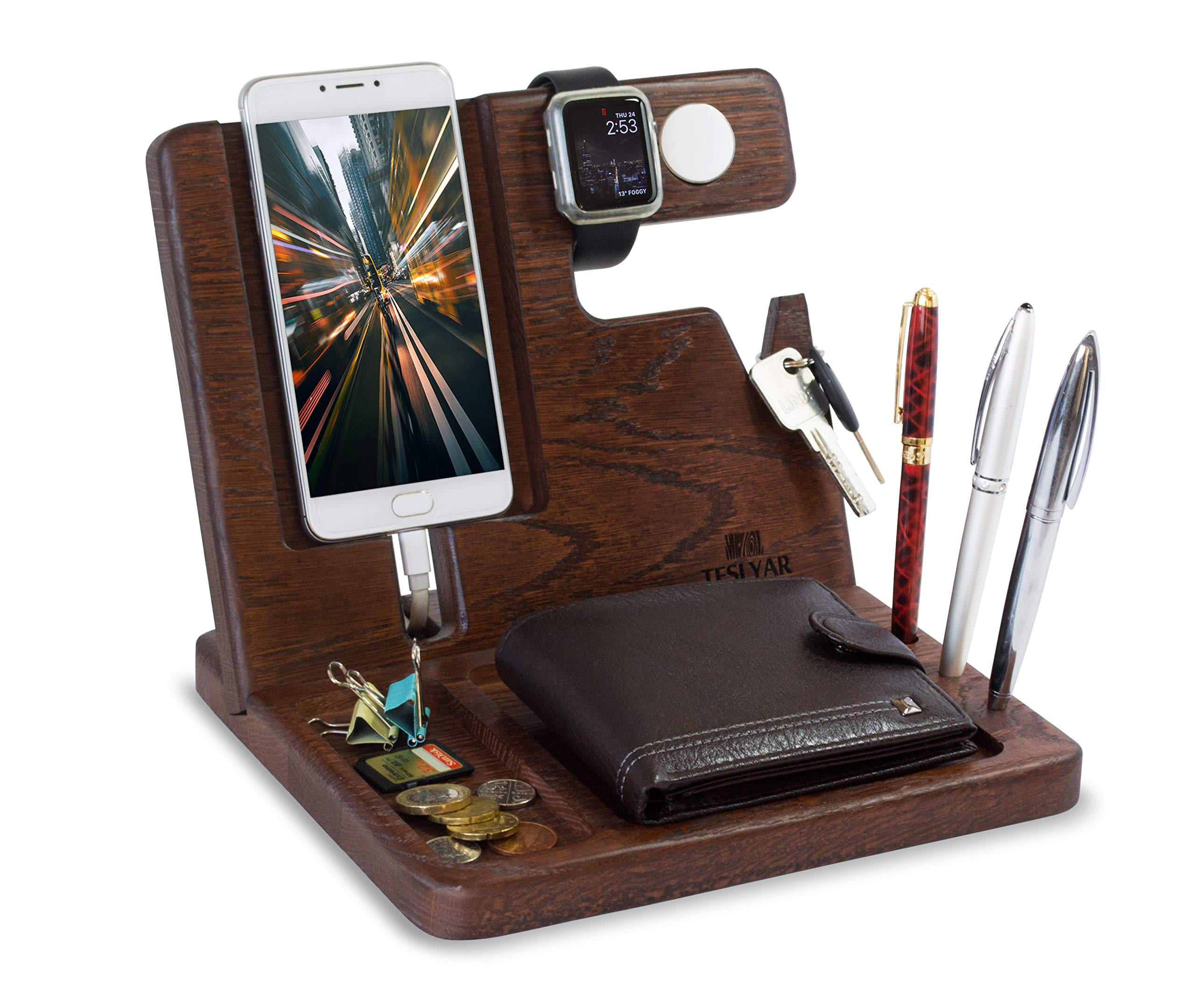 Wood Phone Docking Station Oak Key Holder Wallet Stand Watch Organizer Men Gift Husband Wife Anniversary Dad Birthday Nightstand Purse Father Graduation Male Travel Idea Gadgets Solid by TESLYAR
