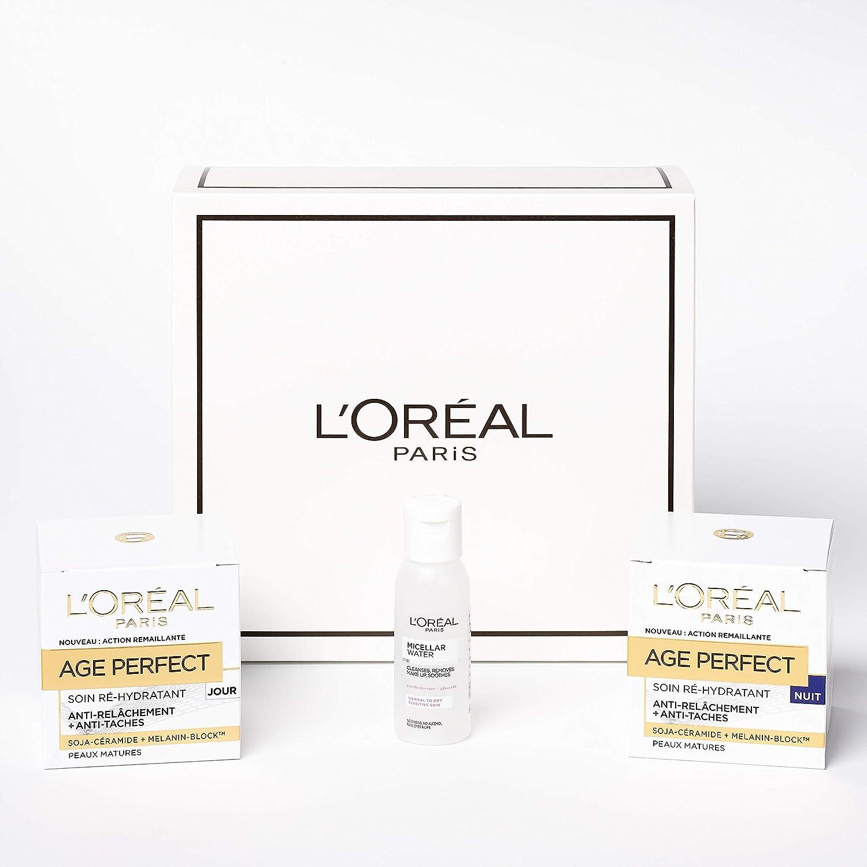 LOréal Paris - Coffret Routine Anti-Relâchement et Anti-Taches : Mini Eau Micellaire + Crème Soin Jour Age Perfect + Crème Soin Nuit Age Perfect: Amazon.es: Belleza