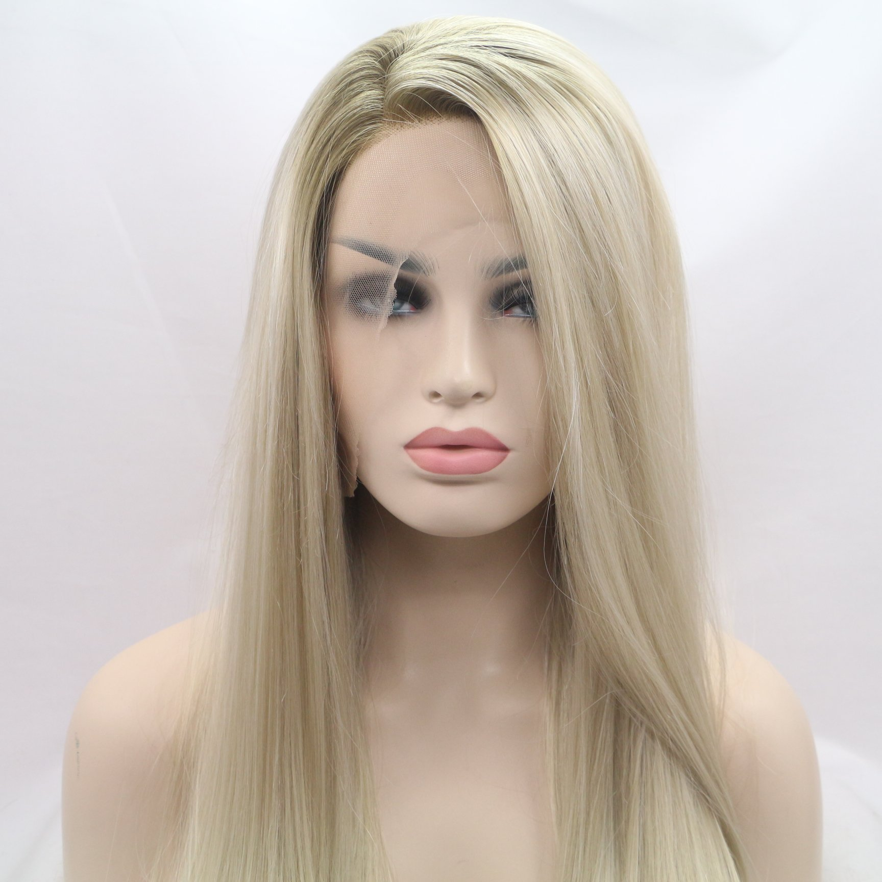 Xiweiya Ombre long blonde silky straight synthetic lace front wigs with Dark Root for women, Drag Queen with Heat Resistant Fiber Hair Replacement Wig Side Part 24 inch