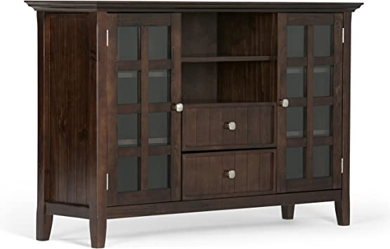 Simpli Home Acadian Solid Wood Tall Tv Media Stand For Tvs Up To 60 Rich Tobacco Brown Amazon Ca Home Kitchen