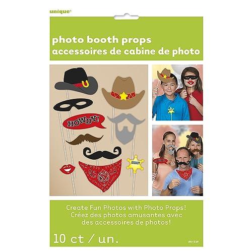 Unique Party 61936 - Accessoires Western pour Photomaton, Paquet de 10