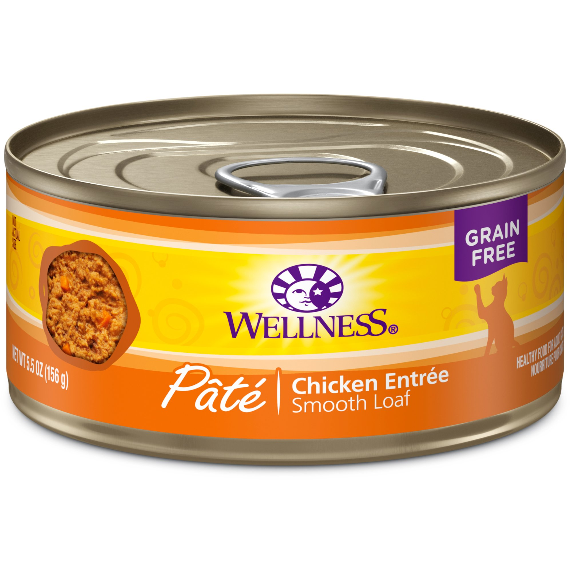 Wellness Natural Grain Free Wet Canned Cat Food, Chicken Pate, 5.5-Ounce Can (Pack Of 24) by Wellness Natural Pet Food