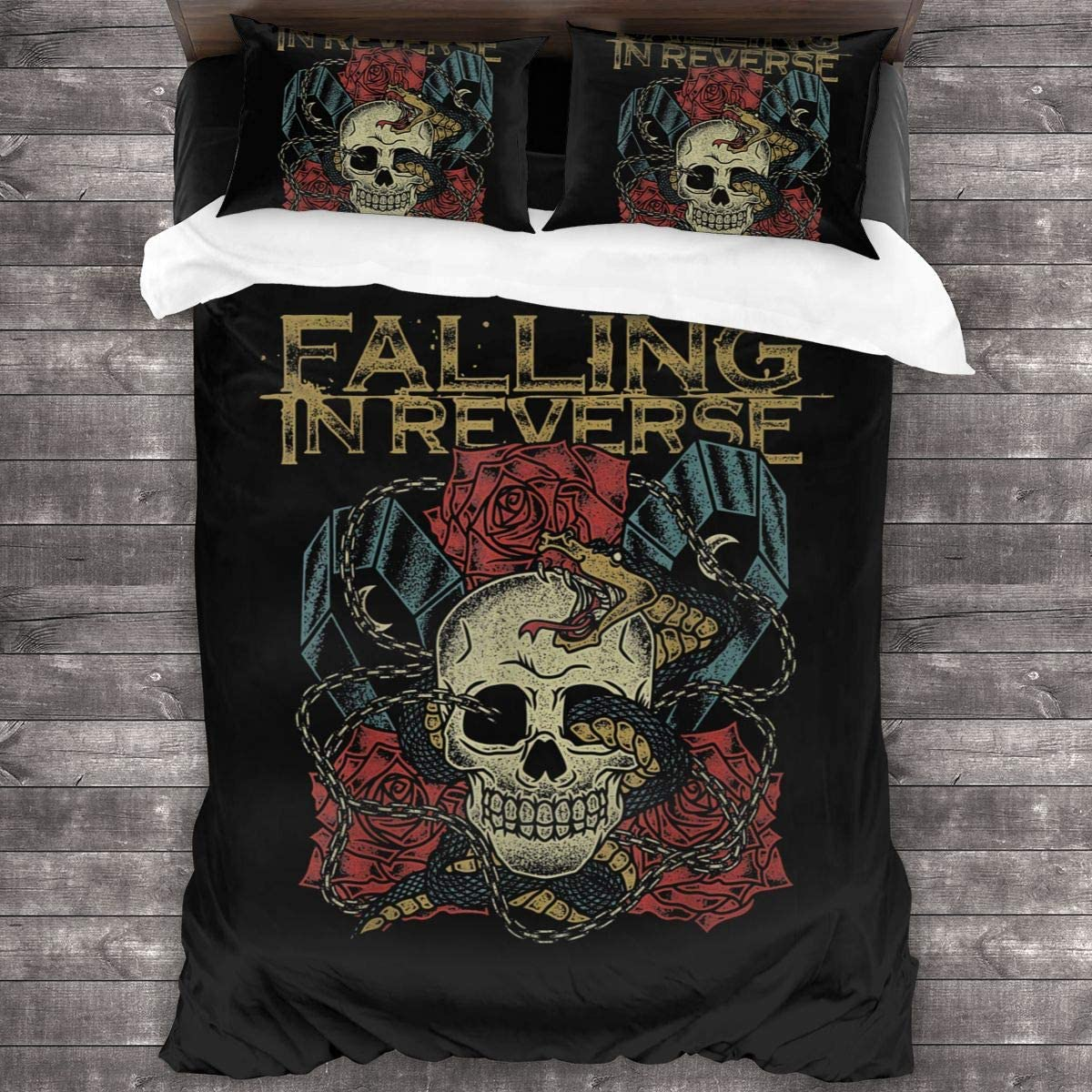 Falling in Reverse Sheet Cover-3 Piece Set-Hotel Luxury Bed Sheet-Extra Soft-Deep Pocket-Easy to Install-Breathable and Cooling Sheets-No Wrinkles-Comfortable.