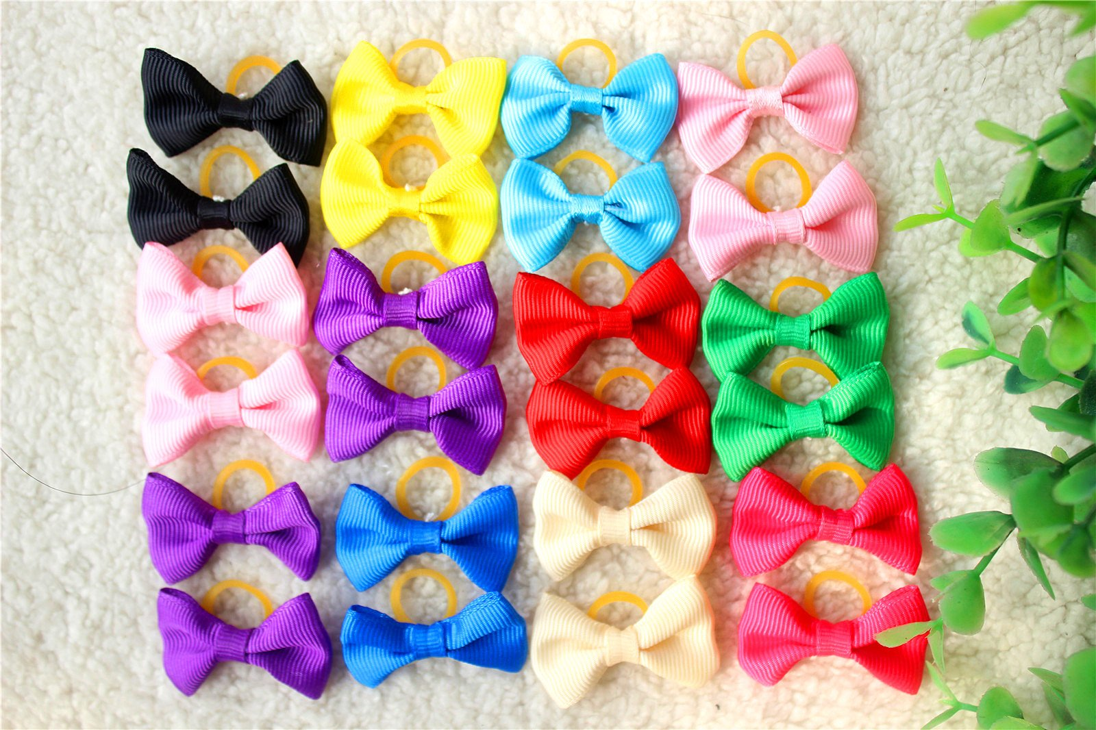Yagopet 60pcs/30pairs Popular Dog Hair Bows Mixed Solid Colors Topknot with Rubber Bands Durable Small Bowknot Pet Grooming Products Dog Hair Accessories
