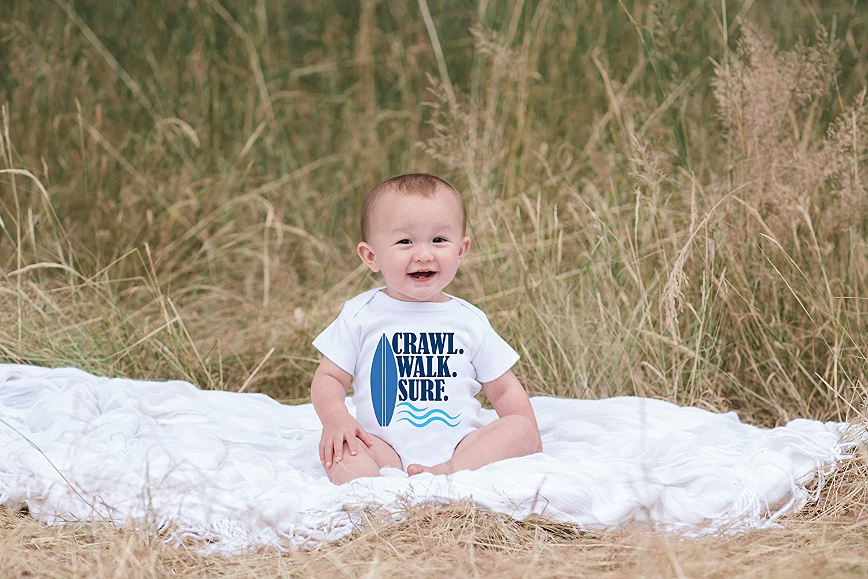 1b9b76cee Amazon.com: 7 ate 9 Apparel Baby Boy's Crawl Walk Surf Summer Onepiece: Baby