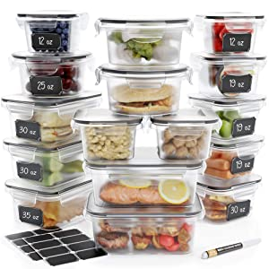 [16-Pack] Food Storage Containers Set - Airtight Plastic Containers with Easy Snap Lids - Leak Proof Kitchen & Pantry Containers - BPA-Free - 16 Chalkboard Labels & Marker - Chef's Path