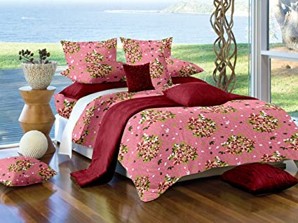 Sheets And Covers Super King Size Bedsheet With 2 Pillow Cover Pink