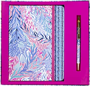Lilly Pulitzer Journal with Pen Kaleidoscope Coral One Size