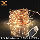 Dripping Colors 15 Meters 150 LEDs Waterproof USB Operated Copper String Lights, (Warm White)