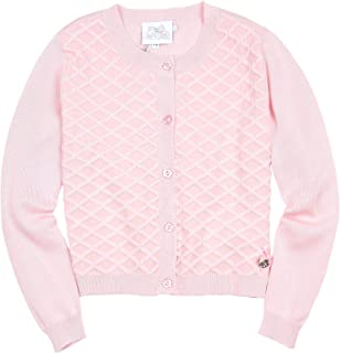 Le Chic Girl's Pink Square Knit Cardigan, Sizes 4-14