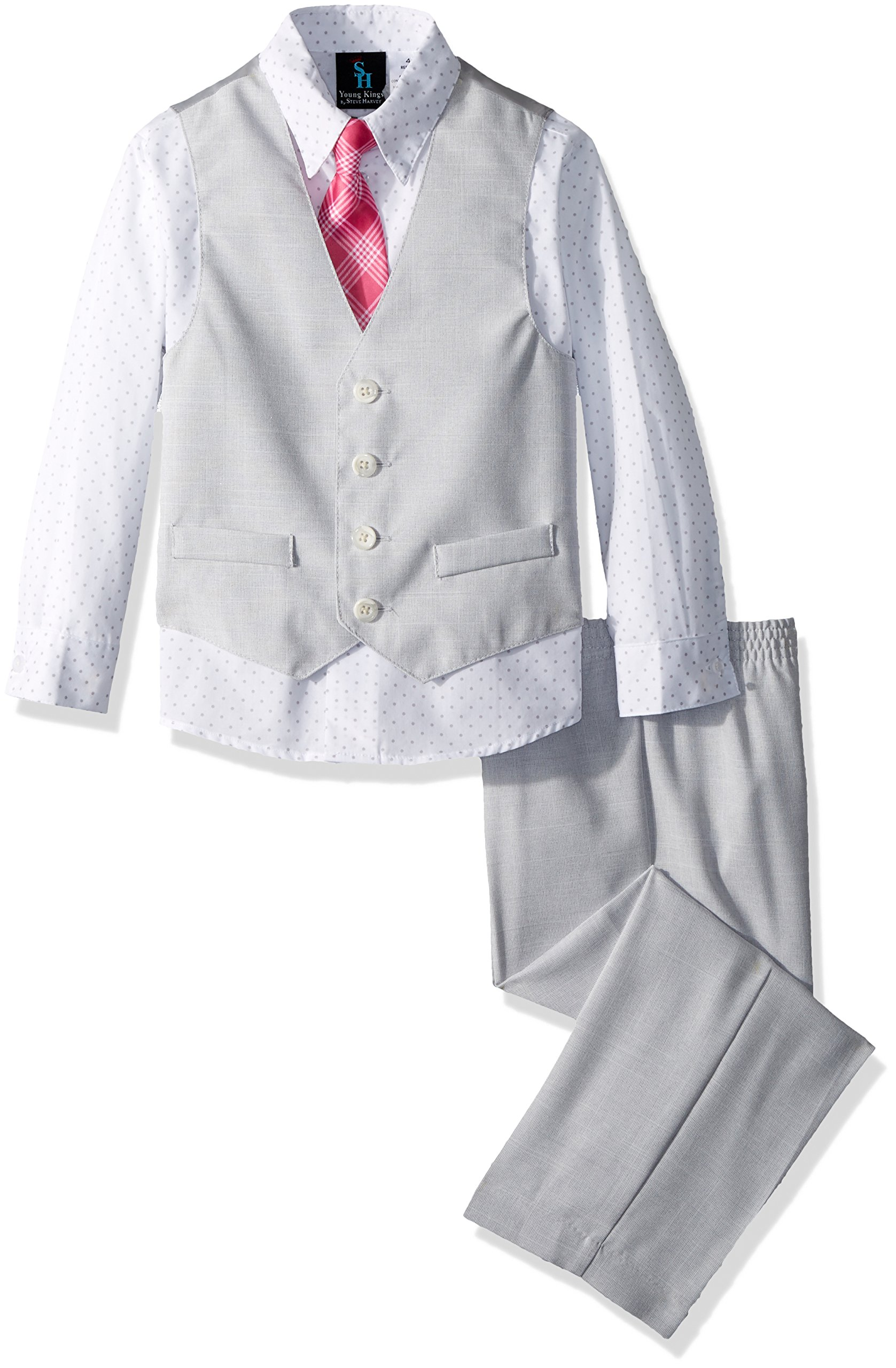Steve Harvey Boys' Toddler Four Piece Vest Set, Sterling slub, 3T