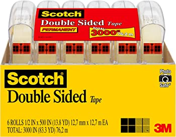 6-Pack Scotch Double Sided Tape, 1/2 x 500 Inch