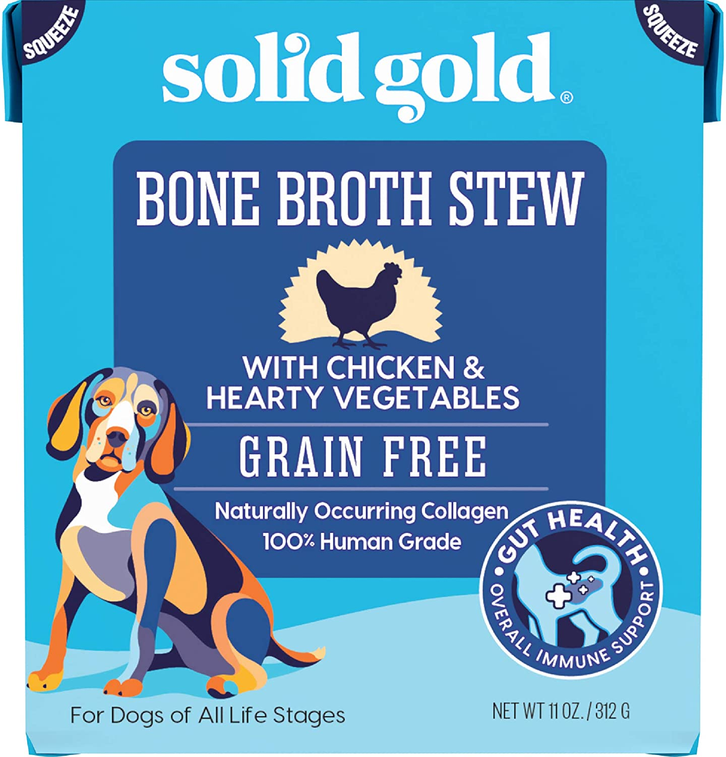 Solid Gold Bone Broth Stew Chicken – Human Grade Meal Topper Treat for Dogs – Natural Collagen for Gut Health – Holistic & Grain-Free – Great for Picky Eaters (6 Count) (50611)