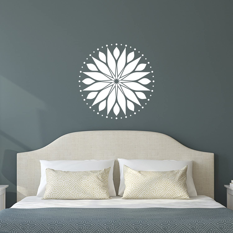 "Vinyl Wall Art Decal - Circle Mandala - 23"" x 23"" - Adhesive Vinyl Sticker Decals - Home Apartment Workplace Decor - Yoga Studio Namaste Meditation Mandala Bohemian Flower (23"" x 23"", White)"