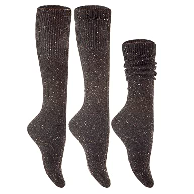 Amazon.com: AATMart Womens 6 Pairs Pack High Crew Wool Boot Socks Size 7-9 Assorted Colors: Clothing