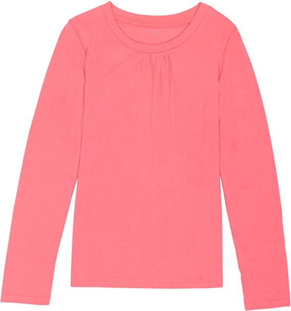 dd273aa5e21 French Toast School Uniform Girls Long Sleeve Crew Neck T-Shirt with Front  Gathers  Amazon.ca  Clothing   Accessories