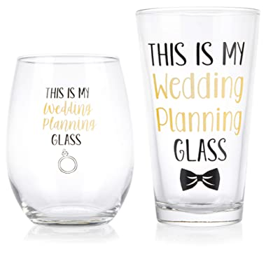 This Is My Wedding Planning Glass Set - Engagement Gift Set for the Couple - Mr & Mrs Gift - Bride and Groom To Be - 16 oz. Pint Glass, 21 oz. Wine Glass (Set of 2)