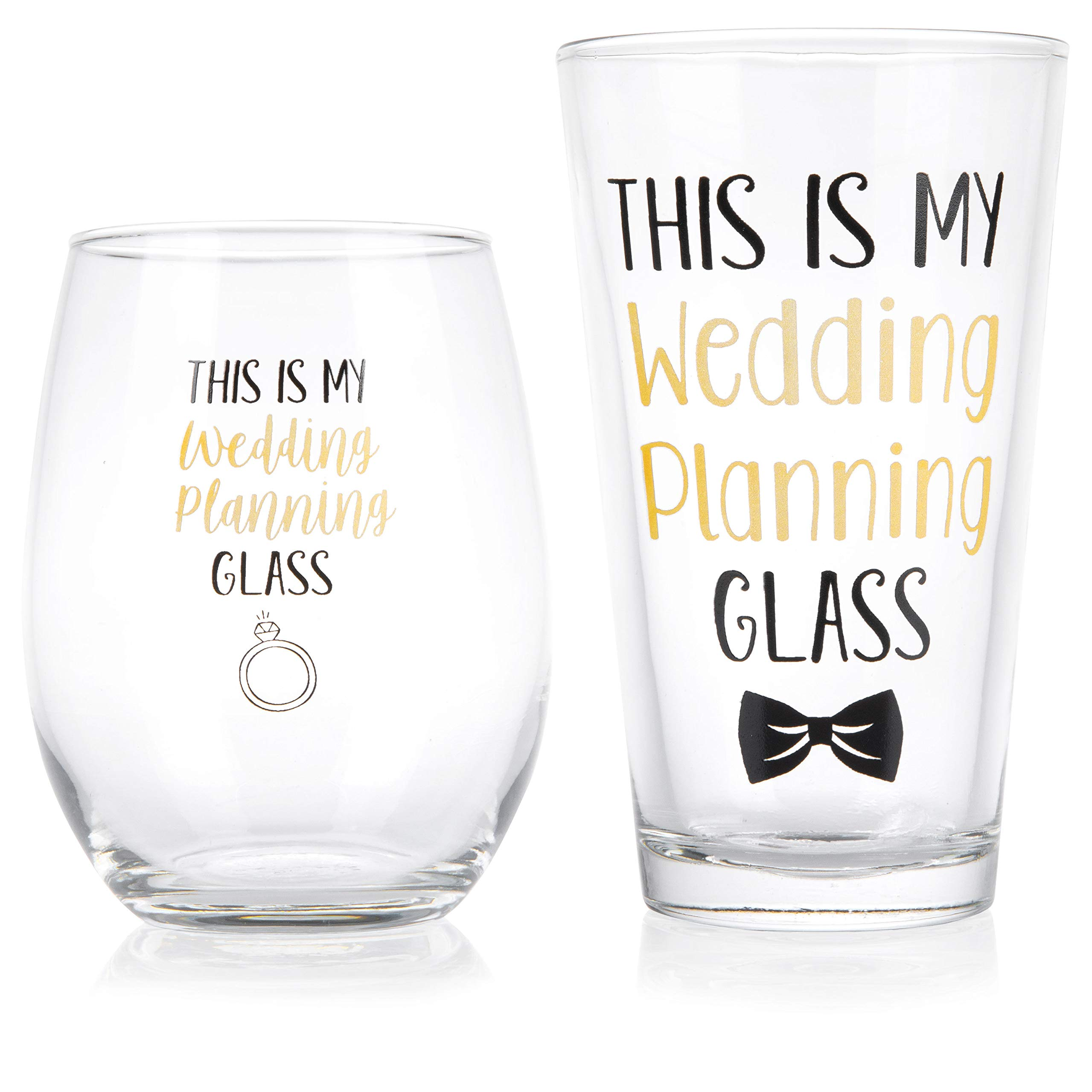 This Is My Wedding Planning Glass Set - Engagement Gift Set for the Couple - Mr & Mrs Gift - Bride and Groom To Be - 16 oz. Pint Glass, 21 oz. Wine Glass (Set of 2) by Gelid (Image #1)