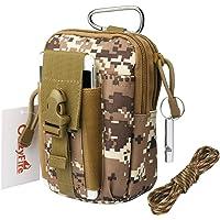 Bolsa de cinturón táctico, CrazyFire riñonera camuflaje, bolsillo cinturón táctico con silbato supervivencia y cuerda, almacenamiento Molle bolsa multifuncional para deporte exterior con un gancho -