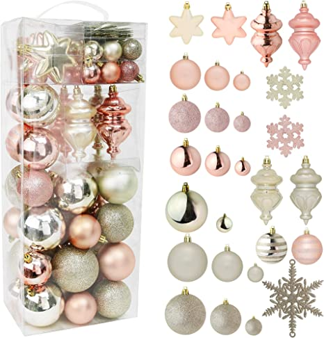 Amazon Com Rn D Christmas Snowflake Ball Ornaments Christmas Hanging Snowflake And Ball Ornament Assortment Set With Hooks 76 Ornaments And Hooks Yellow Rose Gold Kitchen Dining