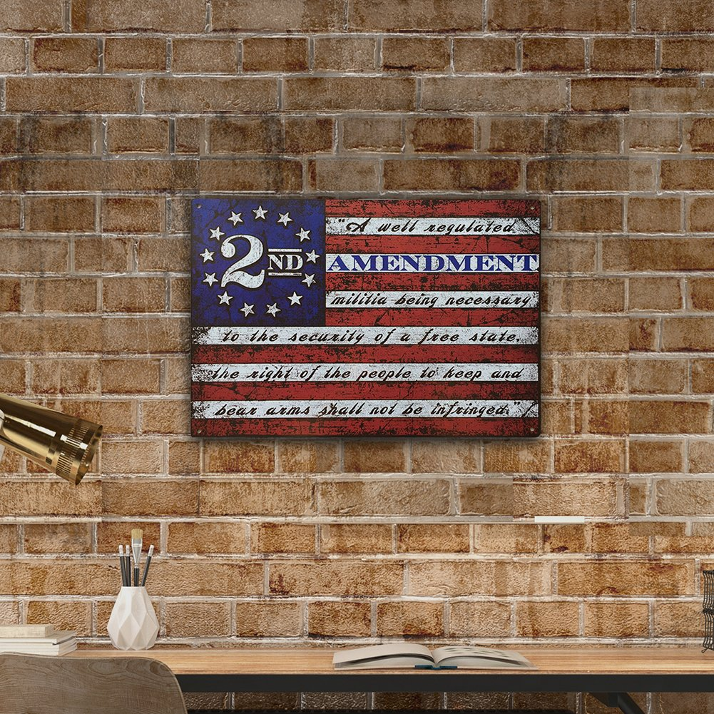 This Well Defend 2nd Amendment Brand Vintage American Flag Tin Sign 11'' x 16'' USA Second 2A Man Cave Decor