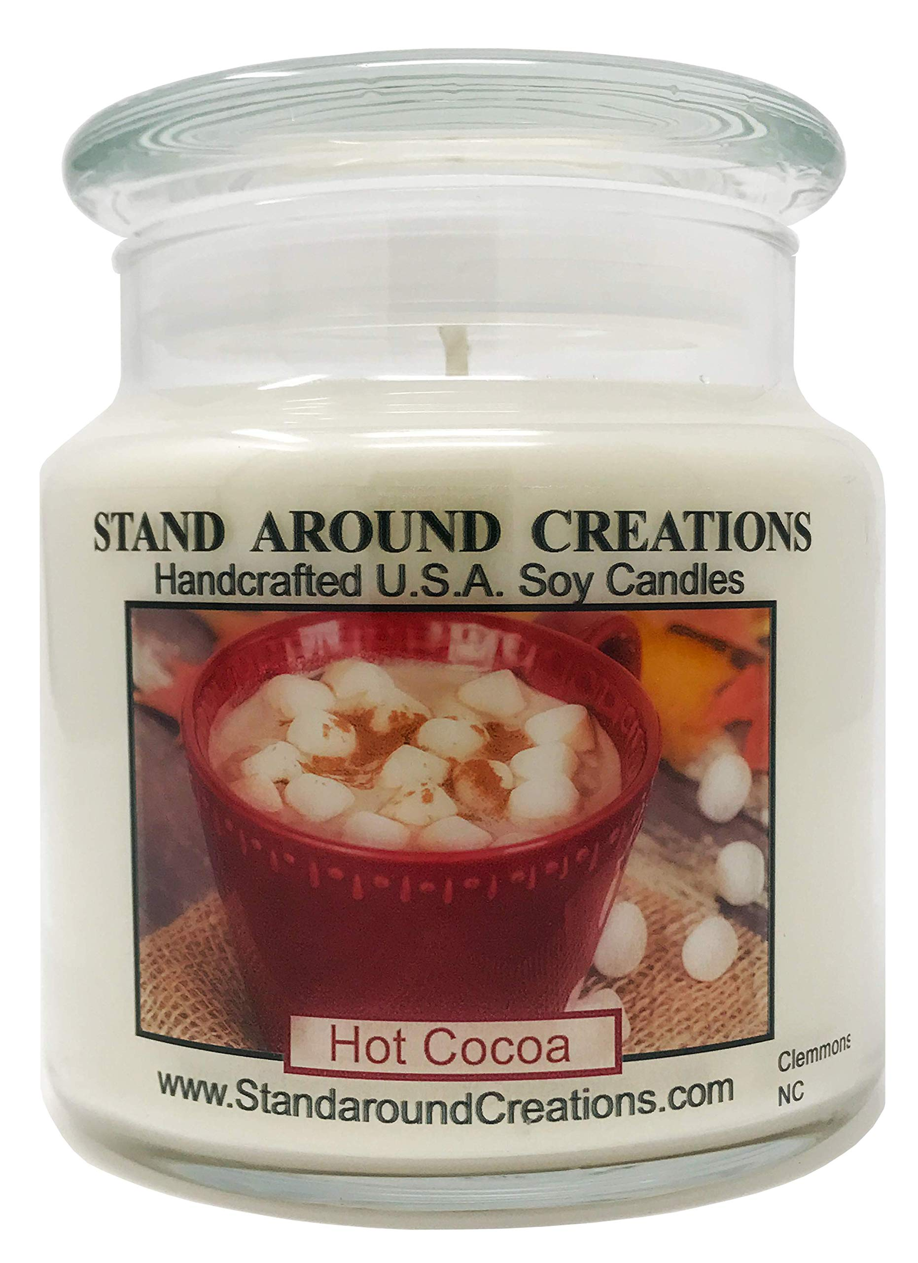 Premium 100% Soy Apothecary Candle - 16 oz - Scent: Hot Cocoa - Warm hot chocolate w/melted marshmallow topping.