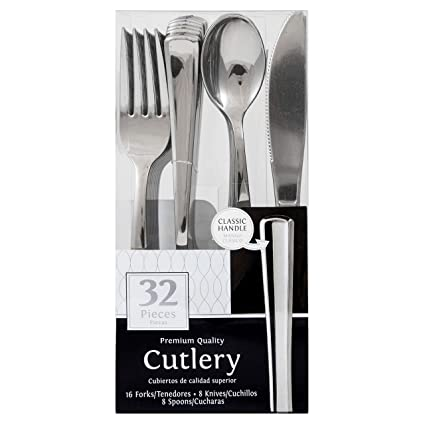 JAM PAPER Premium Cutlery - Assorted Utensils Set - Metallic Stainless Silver - 32 Disposable Utensils/Box
