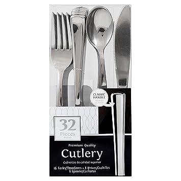 JAM PAPER Premium Cutlery - Assorted Utensils Set - Metallic Stainless Silver - 32 Disposable Utensils
