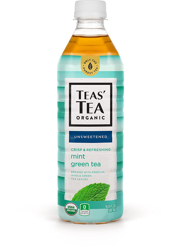 Teas' Tea Unsweetened Mint Green Tea 16.9 Ounce (Pack of 12) Organic, Sugar Free, Zero calorie