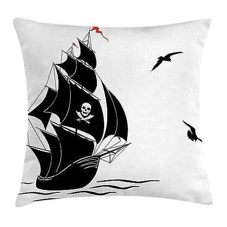 shizh Funda de cojín Silueta de Old Sail Barco Pirata Flying ...