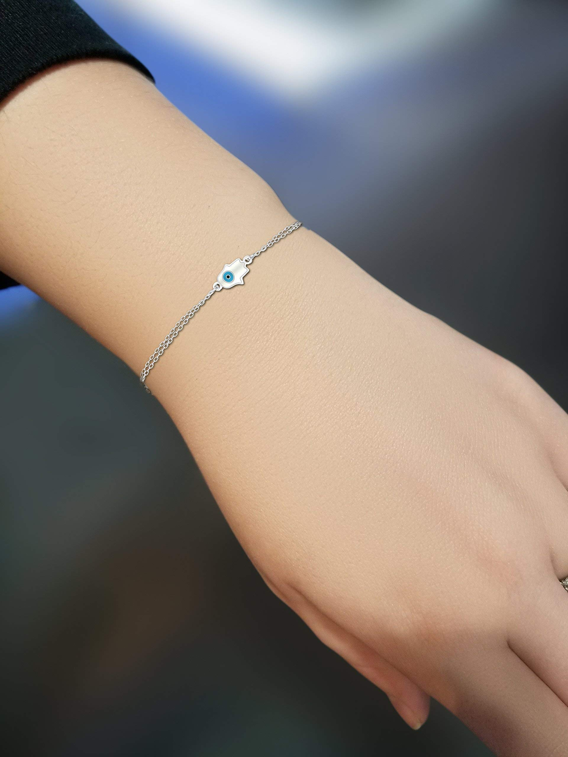 Hamsa and Evil Eye Bracelet in Sterling Silver To Watch Over & Protect You While Adding Daily Style