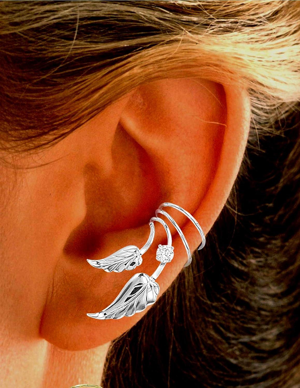 Ear Charms Double S//W Leaf 4mm CZ Wave Ear Cuff Non-pierced Pair of Earring Wrap Rhodium on Silver