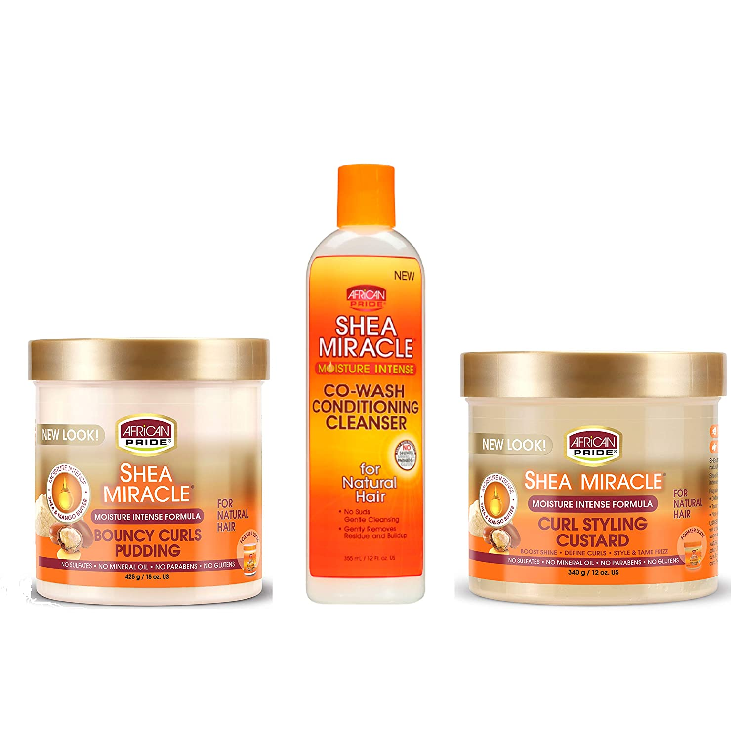 African Pride Shea Miracle: Co-Wash Conditioning Cleanser, Curl Styling Custard & Bouncy Curls Pudding.