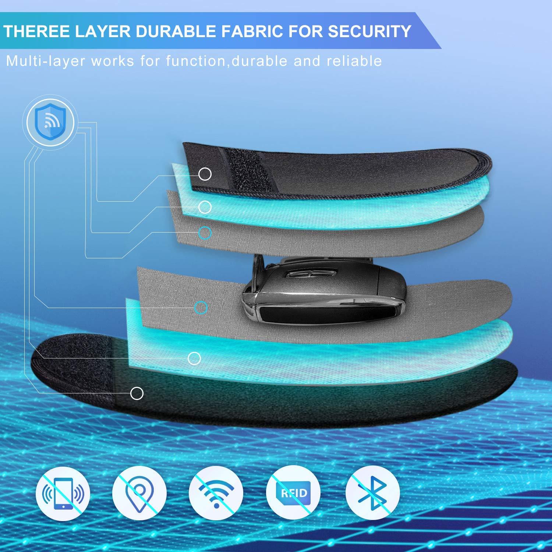 Faraday Bag for Anti theft Car Keys Safe Signal Blocking Bag 2 Pack Keyless Entry RFID Fob Key Security Box Protector SAMFOLK Car Key Signal Blocker Pouch Case Brown