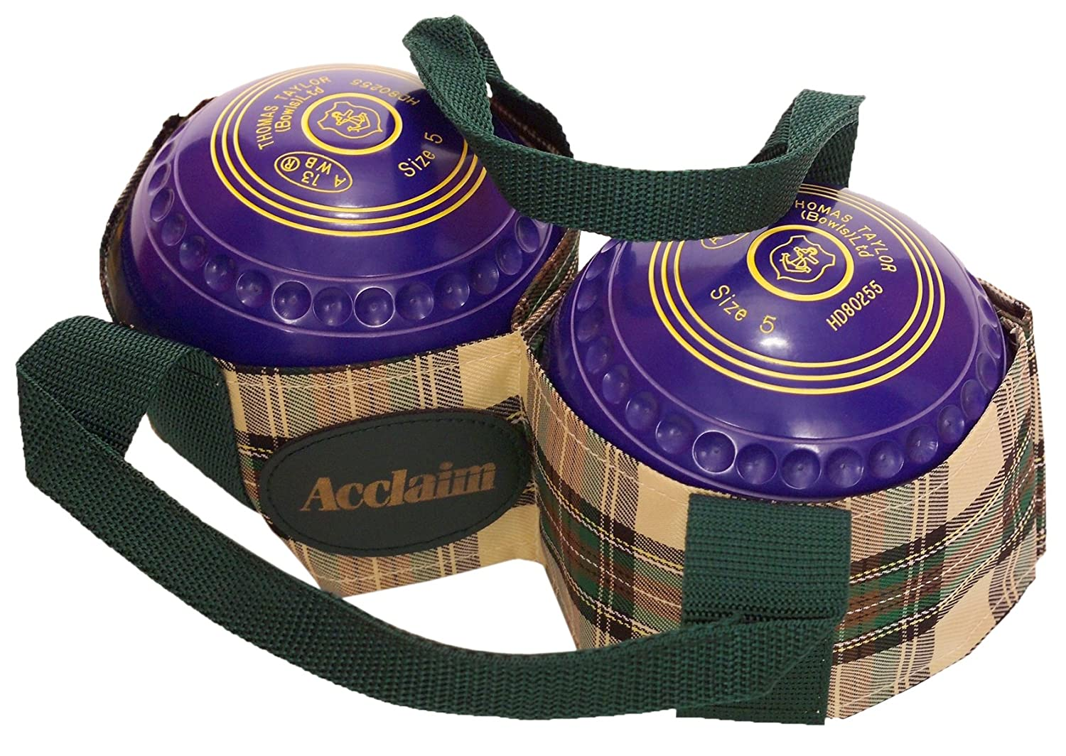 Acclaim Arran Tartan Two Bowl Level Lawn Flat Green Short Mat Bowls Carrier Green/Cream