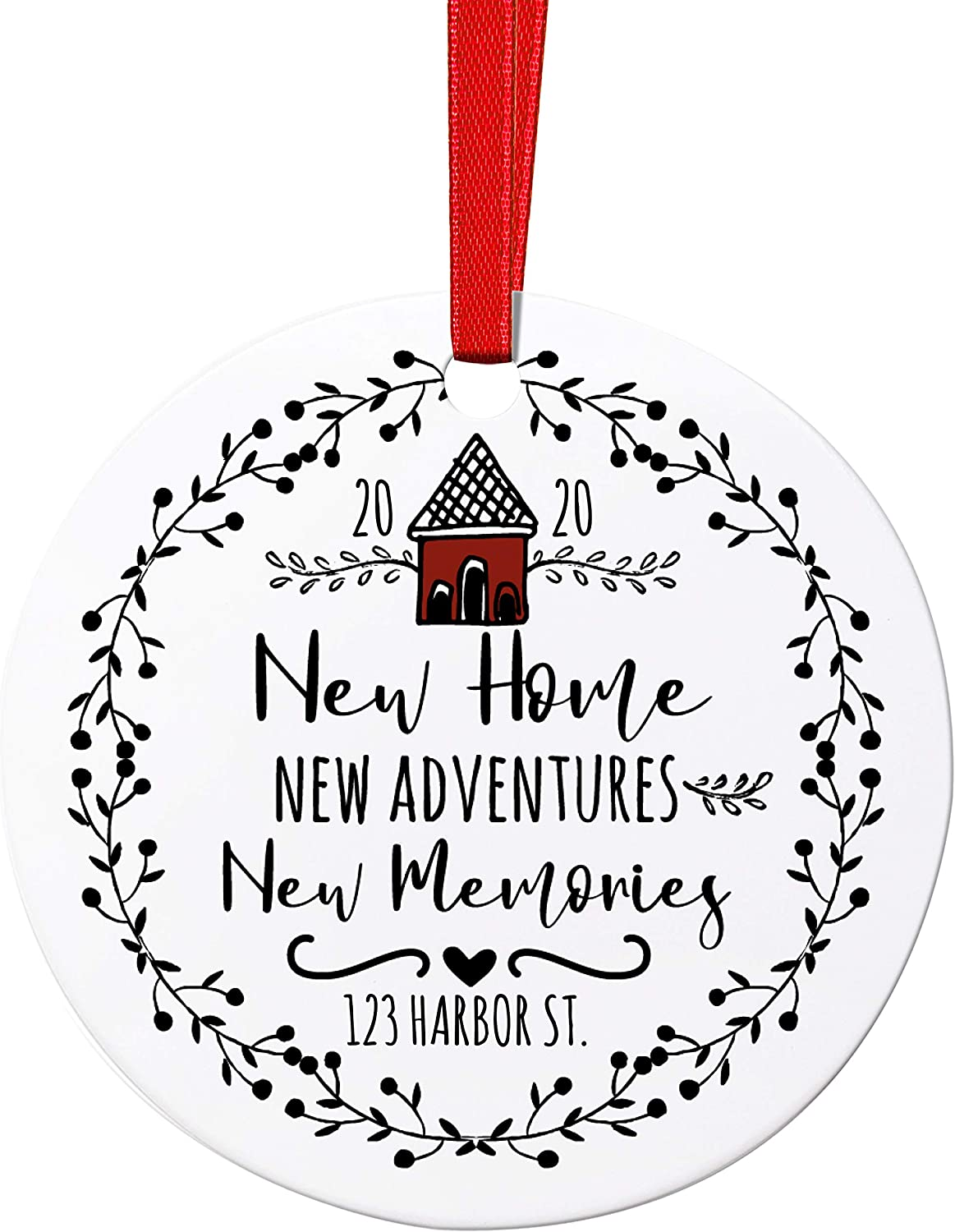 New Home Christmas Ornaments with Address, 2020 Personalized Christmas Ornaments with Address - Aluminum - D2