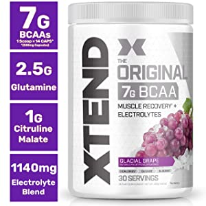 XTEND Original BCAA Powder Glacial Grape | Sugar Free Post Workout Muscle Recovery Drink with Amino Acids | 7g BCAAs for Men & Women| 30 Servings