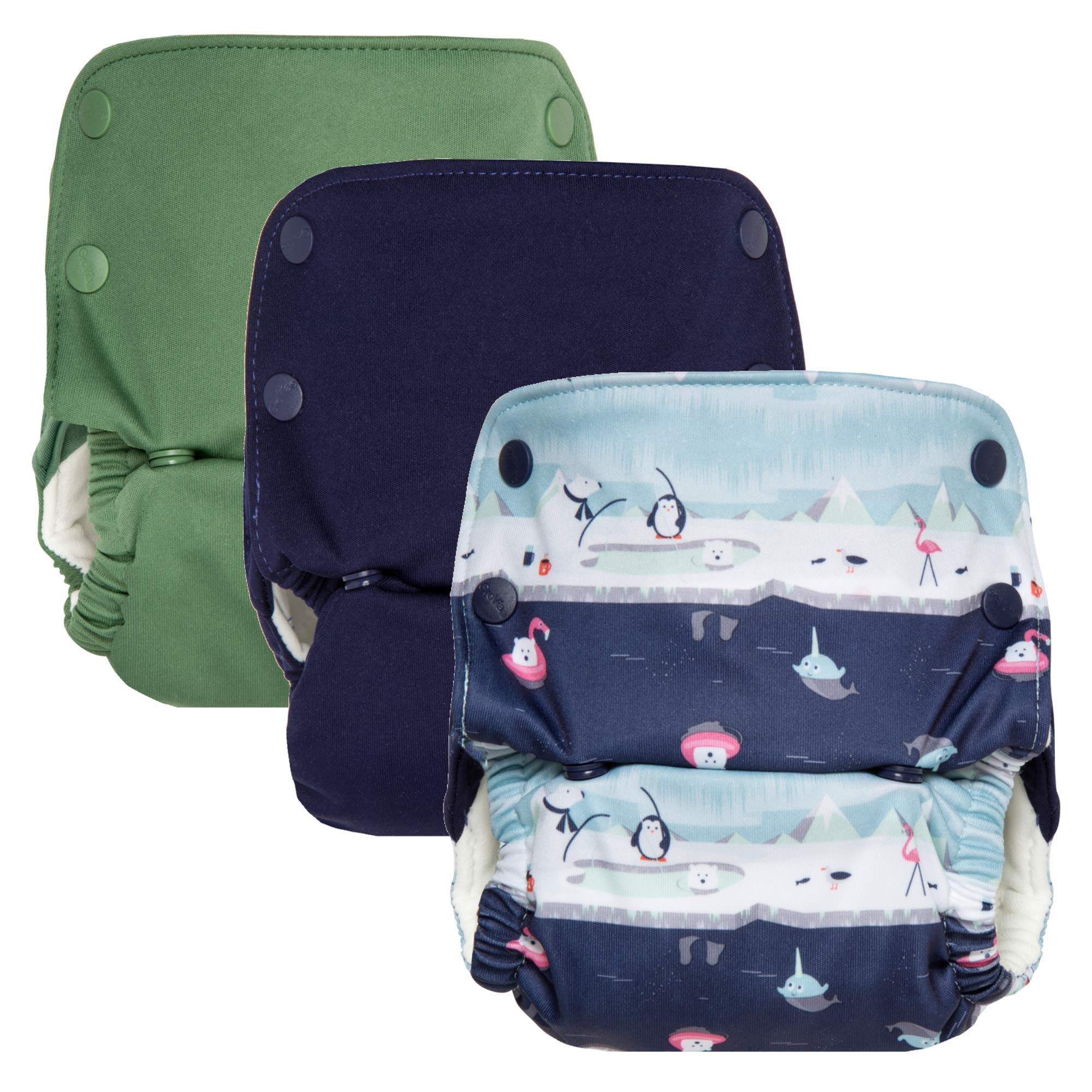 GroVia Reusable All in One Snap Baby Cloth Diaper (AIO) - 3 Pack Color Mix 4