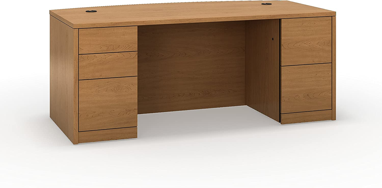 HON Bow Top Laminated Double Pedestal Desk, 72 by 36 by 29-1/2-Inch, Harvest