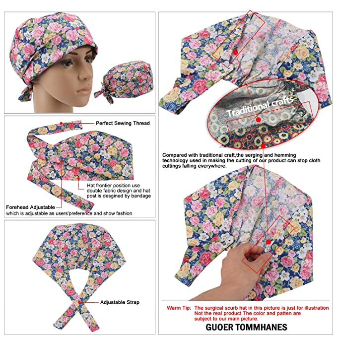 Amazon.com: GUOER Scrub Hat Scrub Cap Hat One Size Multiple Colors ...
