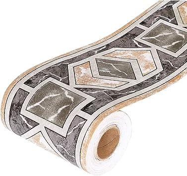 Yoillione Wallpaper Border Self Adhesive Border Decal Bathroom Border Tile Stickers Waterproof Kitchen Wall Borders Black Geometric Vinyl Removable Smooth Waistline Tile Borders Ceiling Amazon Co Uk Diy Tools