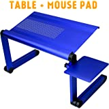 "SOJITEK Heavyduty Blue Wide 19"" x 11.25"" Adjustable Folding Ventilated Laptop Notebook Tablets PC iPad Table / Portable Bed Tray Book Stand with Mousepad"