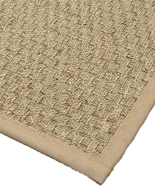 NaturalAreaRugs Optimum - Alfombra de Saga/Caqui, Hecha a Mano, Borde de algodón, Base de látex Antideslizante, algodón, Beige, 8 x 10: Amazon.es: Hogar